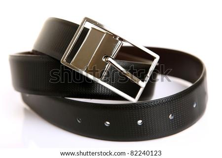 Men black belt isolated on white. - stock photo