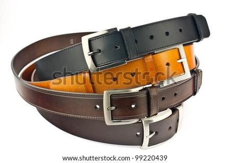 Men black belts isolated on white. - stock photo