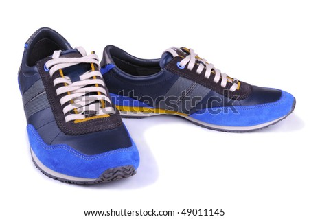 men blue shoes - stock photo
