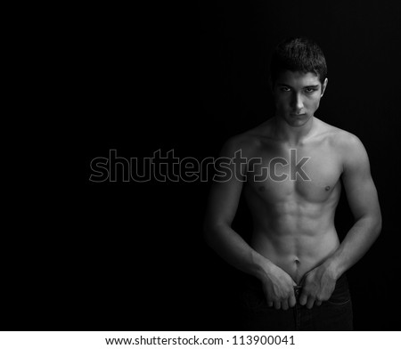 men body in black and white