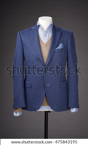 men business suit on grey background.