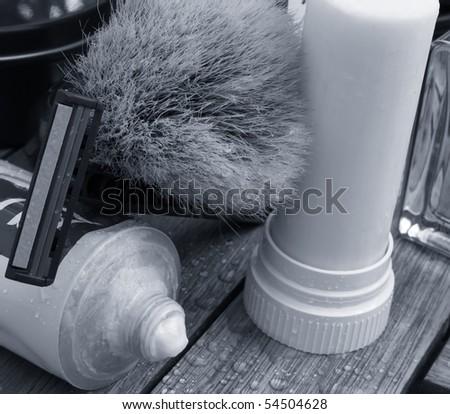 men care classic shaving tools monochrome in blue - stock photo