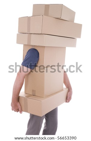 men carry different package on white background - stock photo
