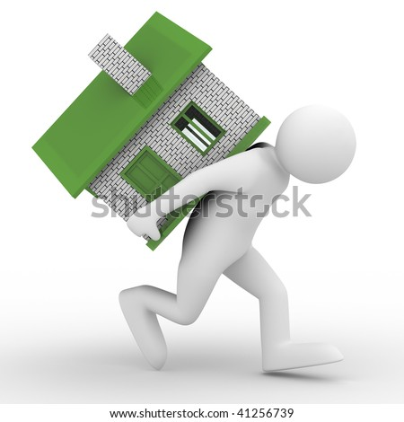 men carry house on back. Isolated 3D image - stock photo