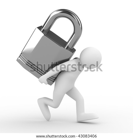 men carry lock on back. Isolated 3D image - stock photo