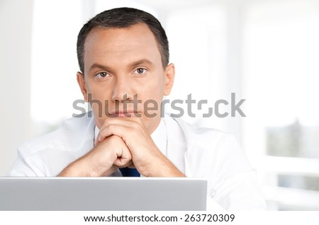 Men. Casual businessman with laptop - stock photo