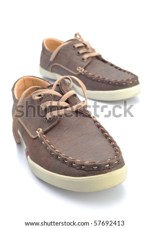 Men casual leather shoes in a white background - stock photo