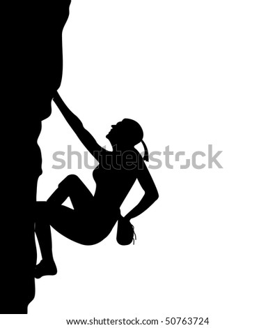 Men climb on the rock - stock photo