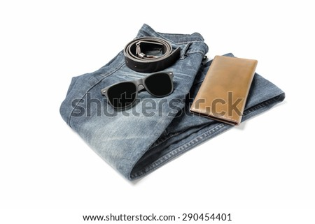men clothes accessories isolated on white background - stock photo