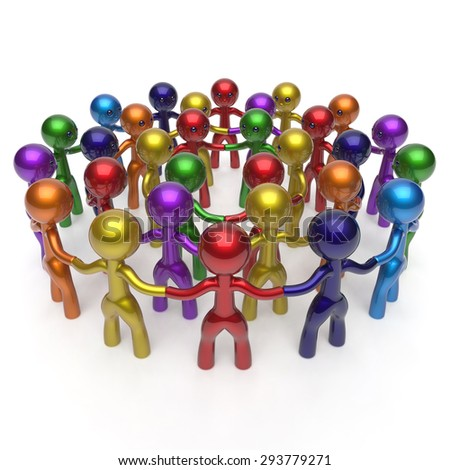 Men crowd social network worldwide large circle characters group people teamwork friendship individuality team different cartoon friends corporate human unity icon concept colorful. 3d render isolated - stock photo