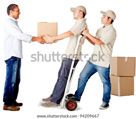 Men delivering a package isolated over a white background - delivery services - stock photo