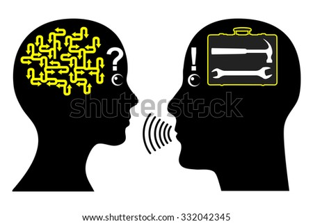 Men do not listen to woman. When women facing problems men immediately know the answer and solution to it - stock photo