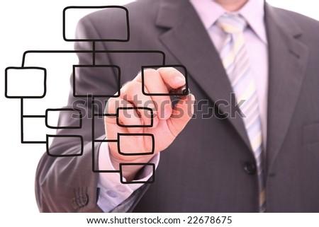 Men drawing a black process diagram - stock photo