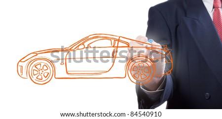 Men drawing a car - stock photo