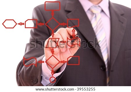Men drawing a red process diagram - stock photo