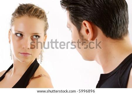 men eyesight adult people girls beautiful couple - stock photo