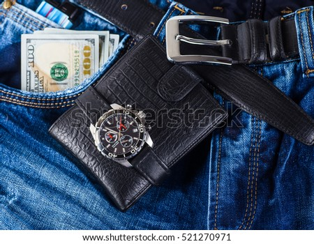 Men fashion and accessories, Wrist watch leather strap, Wallet, Belt.
