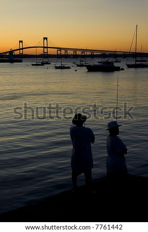 Men fishing, Newport Pell Bridge, Rhode Island