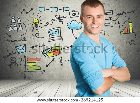 Men. Friendly man with arms crossed - stock photo