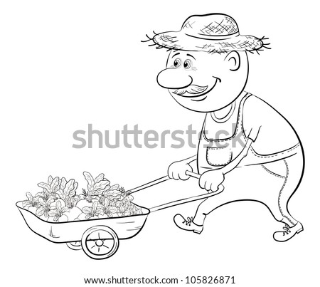 Men gardener driven truck with fresh vegetables, black contour on white background - stock photo