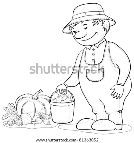 men gardener with a crop of ripe vegetables, contours - stock photo