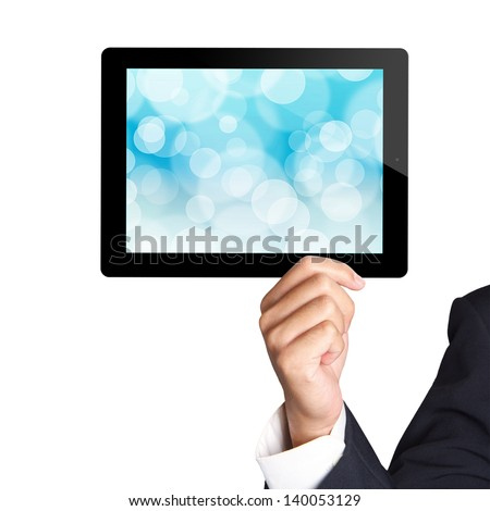 Men hand hold a tablet touch pad computer - stock photo