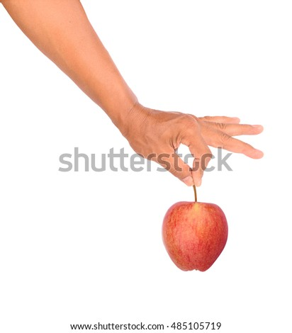 Men hand holding red apple isolated on white