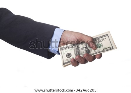 Men Hand in Suit Holding Dollar Banknotes Isolated on White Background