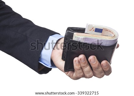 Men Hand in Suit Holding Wallet Full With Euro Banknotes Isolated on White Background
