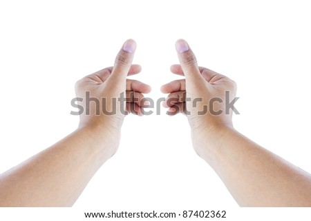 men hand isolated on white background - stock photo