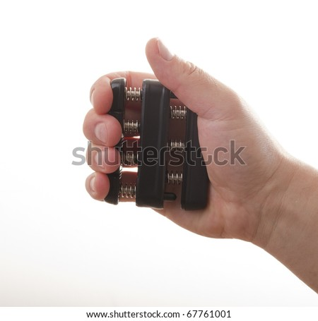 Men hand make exercise. Squeeze  spring - stock photo