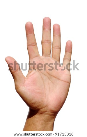 men hand make thumbs up isolated over white