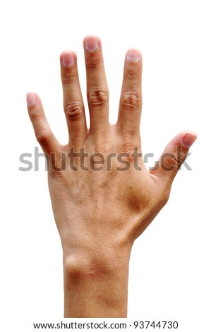 men hand making sign Isolated on white background - stock photo