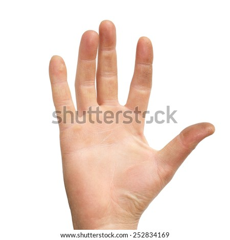 men hand making the sign of the five, isolated on white background - stock photo