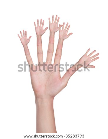 men hand (palm) isolated on white background - stock photo