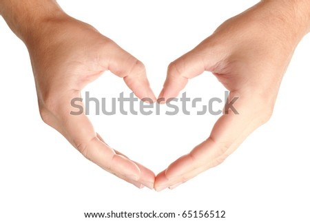 Men hands in protecting heart's shape, showing love and care symbol, isolated on white background, may use as a copy space for your object or text