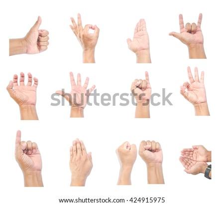 Men hands on white background - stock photo
