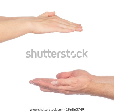 Men hands sign isolated on white background