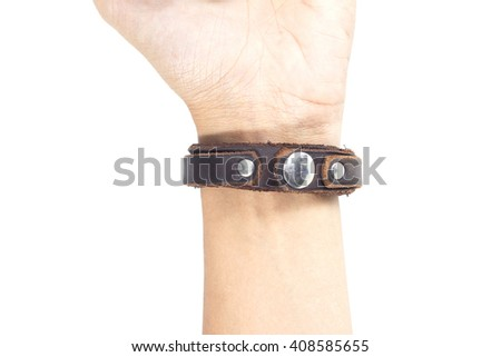 Men hands wearing leather wrist isolated is on white background. - stock photo