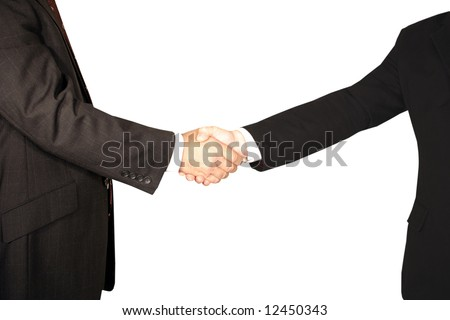 Men handshake on white background