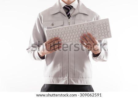 Men have a computer keyboard