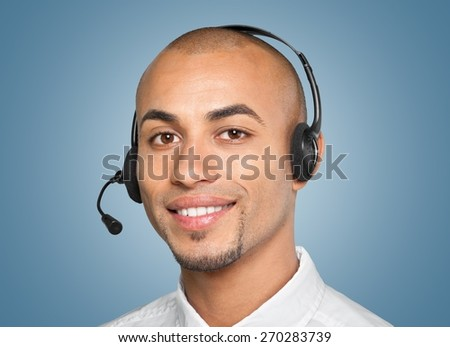 Men, Headset, with. - stock photo