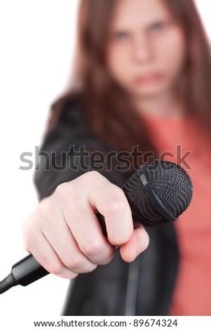 Men holding microphone - stock photo