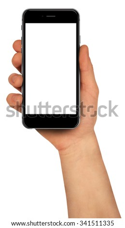 Men holding smartphone with blank screen. High detailed. - stock photo