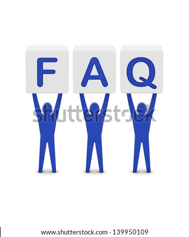Men holding the word faq. Concept 3D illustration. - stock photo