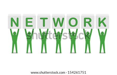 Men holding the word network. Concept 3D illustration. - stock photo
