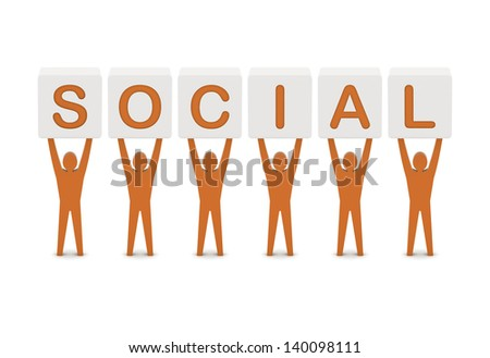 Men holding the word social. Concept 3D illustration.
