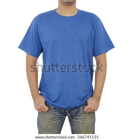 Men in a blue jeans and blue T-shirt on white background - stock photo