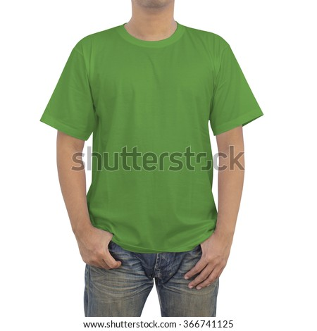Men in a blue jeans and green T-shirt on white background