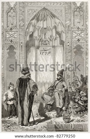 Men in a courtyard in Teheran, old illustration. Created by Laurens, published on Le Tour du Monde, Paris, 1860 - stock photo